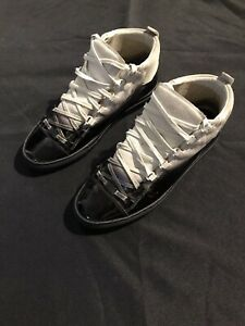 BALENCIAGA ARENA MIXED MATERIAL GRAY BLACK LEATHER 43 10 SNEAKERS $650 AUTHENTIC