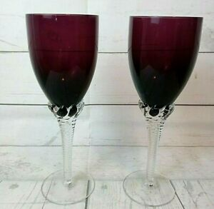 Pair of Purple Stemmed Crystal Wine / Champagne Glasses 10 oz