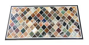 "20""x40"" Marble Art Dining Table Top Multi Mosaic Cubes Inlay Interior Decor B128"