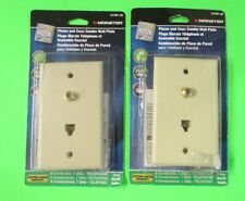 LOT OF 2 Monster Phone & Coax Combo Wall Plate - Ivory 1GHz #141091