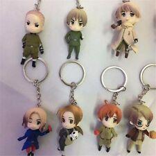 Anime APH Axis Powers Hetalia PVC Figure Keychain Keyring Charm 9pcs Set
