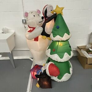 Holiday Time 5 ft Lighted Christmas Tree Inflatable Polar Bear and Penguins