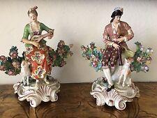 Antique Pair Of Chelsea Porcelain Figurines