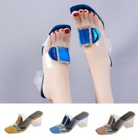 Clear Transparent Buckle Block High Heel Backless Mules Sandals Shoes Slippers