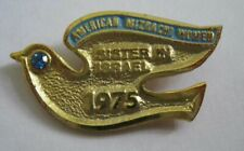 American Mizrachi Women 1975 Sister in Israel Dove Pin, Yellow Gold Plated (Rs)