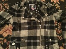 RARE PINK Victoria's Secret Authentic Black/Gray Plaid Moto Jacket Coat Nice XS