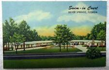 Linen Postcard Swim In Court Motel Silver Springs Florida #23