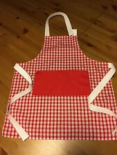 Personalised Childrens Child Apron (Cute Red Gingham Design Fabric)