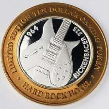 New Listing2001 G Hard Rock Casino Silver Strike $10 Rickenbacher Copper Rim Token ∞Hr0112