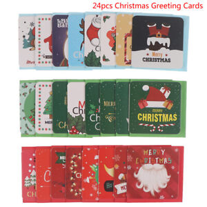 24pcs Merry Christmas Greeting Cards Party Invitations New Year Greeting C^mx