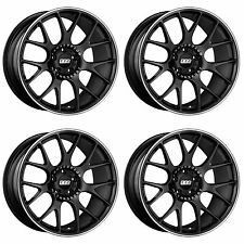 4 x BBS CH-R Satin Black / Stainless Rim Alloy Wheels - 5x112 | 19x8.5 "
