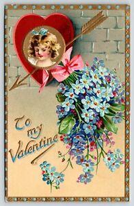 Valentine~Brundage Girl in Heart~Gold Arrow~Forget Me Nots~TUCK Floral Missives