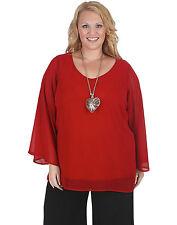 Plus Chiffon Casual Long Sleeve Tops & Blouses for Women
