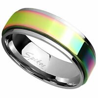 Classic Rainbow Spinner Ring 6mm Womens Stainless Steel Fidget Band Sizes 5-8