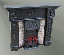 Windsor Cast Iron Finish Fireplace with Bulb (F15C) Doll House Miniature Fire