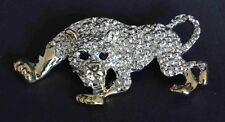 Silver Jaguar Panther Wild Cat Brooch Pin Brand New FREE P&P
