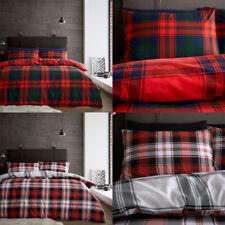 100% Brushed Cotton Duvet Cover Single Double King Size Scottish Tartan Bedding