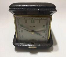 Black Face Mini Travel Alarm Clock w//Black Swivel-Back in Black Leather Case