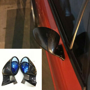 2Pcs Carbon Fiber F1 Style Side Wing Plane Rear View Mirror Fit For Car Front