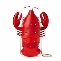 Cute Lobster PU Leather Shoulder Bag Women Crossbody Mobile Chain Handbag Mini