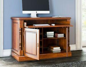 Hideaway PC Desk Home Office Workstation Solid Mahogany Light Wood La Reine