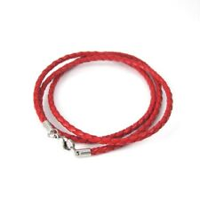 Womens Red Braided Leather Straps Silver Lobster Clasp Bracelet Surfer Wristband