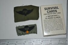 2 Vietnamese Jump Wings 1 off uniform, 1 unused / Special Forces Survival Cards