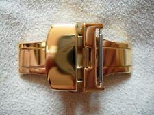 POUR BRACELET 18 mm BOUCLE DEPLOYANTE PAPILLON 16mm PLAQUEE OR JAUNE A POUSSOIRS