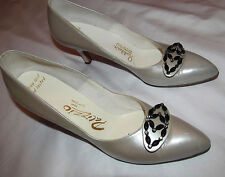 50's PALIZZIO RODDER'S pearlescent gray rhinestone bead front accent shoes 8 AAA