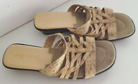 Easy Street Womens Ladies Tan Open Toe Sandals Shoes Size 7.5M
