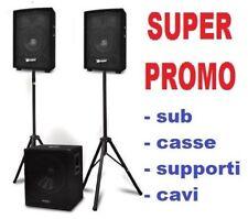 SISTEMA IMPIANTO AUDIO AMPLIFICATO PROFESSIONALE pro series CASSE STATIVI SUB
