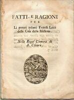 1779 - NAPOLI - REGAL CAMERA SANTA CHIARA - ECCLESIASTICA - SETTECENTINA