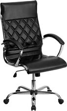 High Back Designer Black Leather Executive Swivel Chair with Chrome Base and ...