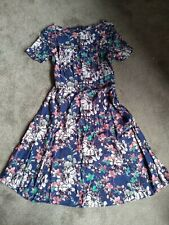 Cute Blue Floral Monsoon Dress Size 14 Tea Party Summer Style