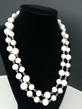 "VINTAGE NECKLACE SILVER TONE WHITE ROUND SMOOTH PEARLS JEWELRY 40"" LONG"