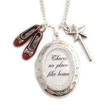 WIZARD OF OZ necklace locket There's no place like home RUBY red slippers shoes