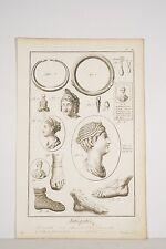 Gravure XVIII° Antiquités Romaines Bijoux Coiffures Chaussures Archéologie