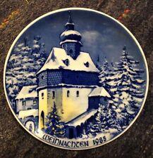 Wehrkirche St.Walburga Bad Steben/ Frankenwald Weihnachtsteller 1985 echt Kobalt