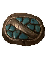A. Penketewa Zuni Native American Sterling Turquoise Belt Buckle Signed Woman's