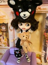 Customized Black Haired Blythe, Blyth Doll Matte Face, Teeth, Lips , Dressed,Icy