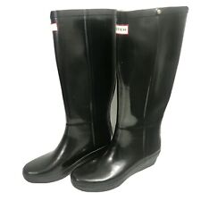 Hunter Arolla Tall Black Gloss Rubber Rain Boots Size 7 Platform Wedge Heel