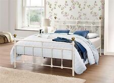 "Atlas Cream & Brass Small Double 4'0"" Metal Bed Frame"