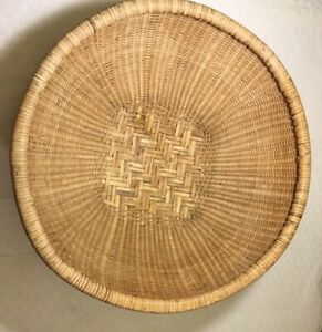 Large Rattan Woven Round Bowl Basket 22 inches boho