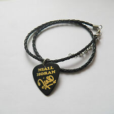 ONE DIRECTION NIALL HORAN guitar pick plectrum braided LEATHER NECKLACE 18""