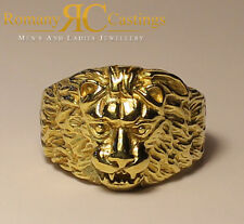 Pulido anillo de cabeza de león en oro sólido 9ct 14 gramos caracteriza completamente