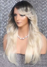 25 Long HEAT SAFE Full Wig Sweep Bangs Flip sides Dark Rooted Blonde Go Bold FTR