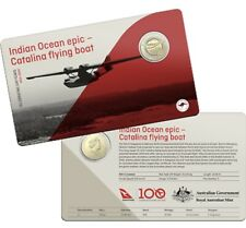 2020 $1 UNC Qantas Centenary Indian Ocean Epic Catalina Flying Boat Coin in Card