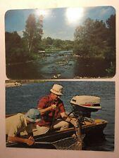 VINTAGE FISHING POSTCARDS LOT OF 2, MEN & SCENE, CHROMES POSTED 1953 & 78