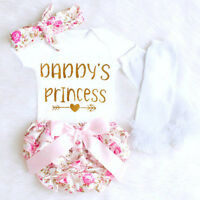 Newborn Baby Girl Cotton Tops Romper Floral Shorts Pants Outfit 4PCS Set Clothes