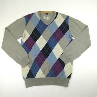 Boden Mens XS Gray Purple Blue V Neck Wool Blend Sweater